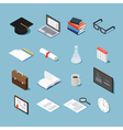Isometric college objects set vector image vector image