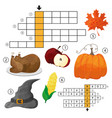 learn english with an autumn crossword game for vector image vector image
