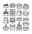 lunch box outline icon big set vector image vector image