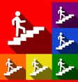man on stairs going up set of icons with vector image vector image