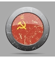 metal button with Soviet Union flag - grunge style vector image