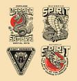 mixed martial arts japanese vintage prints vector image
