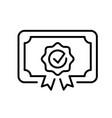 monochrome certificate icon vector image