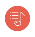 Musical note with bar lines thin line icon vector image vector image