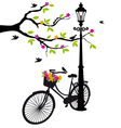Old bicycle with flowers vector | Price: 1 Credit (USD $1)