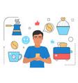 people cook food online man user in glasses vector image