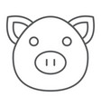 pig thin line icon animal and farm piggy sign vector image vector image