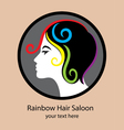 Rainbow Hair Saloon logo vector image vector image
