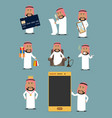 rich arab businessman cartoon character set vector image