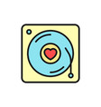 romantic song icon music disc with love simple vector image