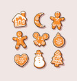 set christmas and new year gingerbread cookies vector image vector image