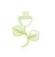 silhouette power cable with leaves to environment vector image vector image
