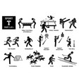 sport games alphabet t icons pictograph table vector image