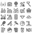 summer vacation related icon set 4 line style vector image vector image