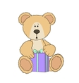 Teddy bear with a gift vector image vector image