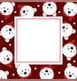 white bear with red scarf on red banner card vector image vector image