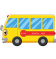yellow school bus cartoon on white background vector image