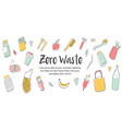 zero waste concept design with hand drawn elements vector image vector image