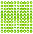 100 farm icons set green circle vector image vector image