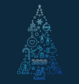 2020 new year tree concept blue outline vector image vector image