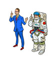 a businessman and an astronaut in a spacesuit vector image vector image