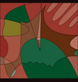 abstract cubism background in green and red tones vector image