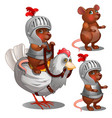 beaver knight on chicken cartoon animals character vector image vector image