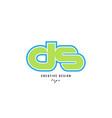 blue green alphabet letter ds d s logo icon design vector image vector image