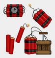 cartoon color different dynamite sign icon set vector image vector image