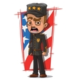 Cartoon shouting general in black uniform vector image vector image
