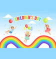 children day banner template happy kids jumping vector image vector image