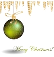Christmas green bauble with pattern and golden vector image vector image