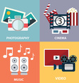 collection of flat and colorful media music video vector image vector image