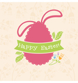 Concept Easter card with egg and bunny vector image vector image