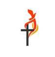 cross jesus flame fire vector image