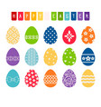 easter eggs with decorative patterns vector image