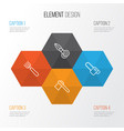 equipment icons set collection of garden fork vector image vector image