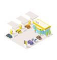 filling station parking refilling fuel road shop vector image vector image