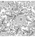 flower bouquet seamless pattern floral sketch vector image vector image