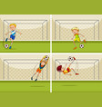 four football scenes with goalkeeper at goal vector image vector image