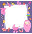 frame with baby girl elements vector image vector image