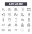 gates line icons signs set outline vector image vector image