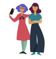 girlfriends friends taking selfie on smartphone vector image vector image