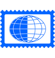 Globe on stamp vector image vector image