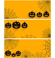 halloween backgrounds set with pumpkin faces vector image