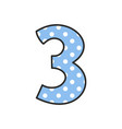 hand drawn number 3 with polka dots on pastel blue vector image