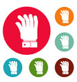 hand icons circle set vector image