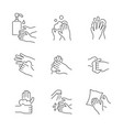 hand washing line icon set on white background vector image vector image