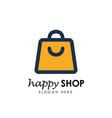 happy shop logo design template shopping logo vector image vector image