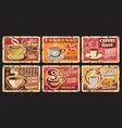 hot coffee coffee shop drink rusty metal plate vector image vector image